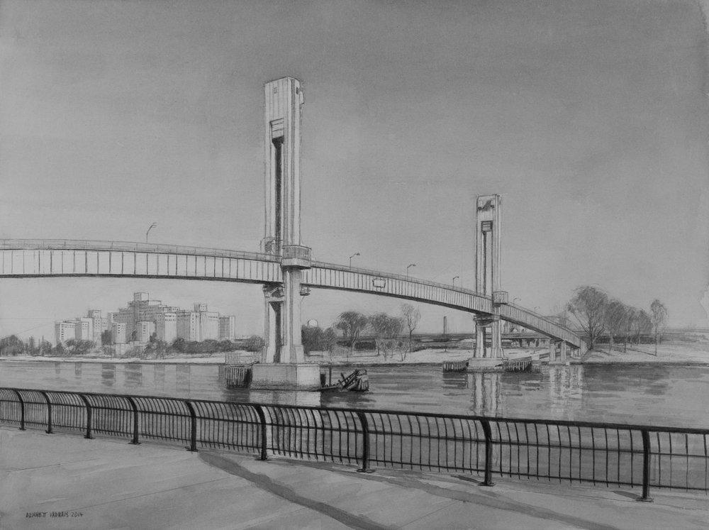 "Randalls Island Bridge  Acrylic 12""x16"""
