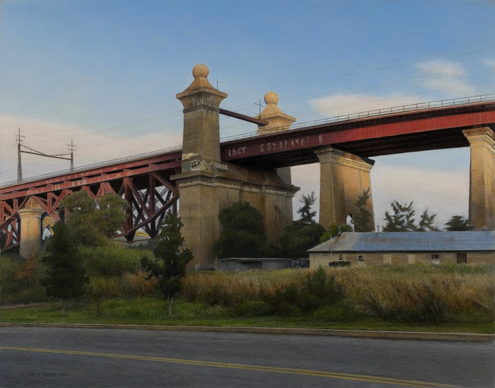 "Train Overpass  Acrylic 13""x17"""