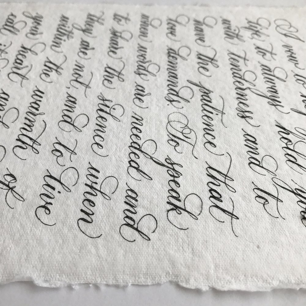 Wedding vows on handmade paper