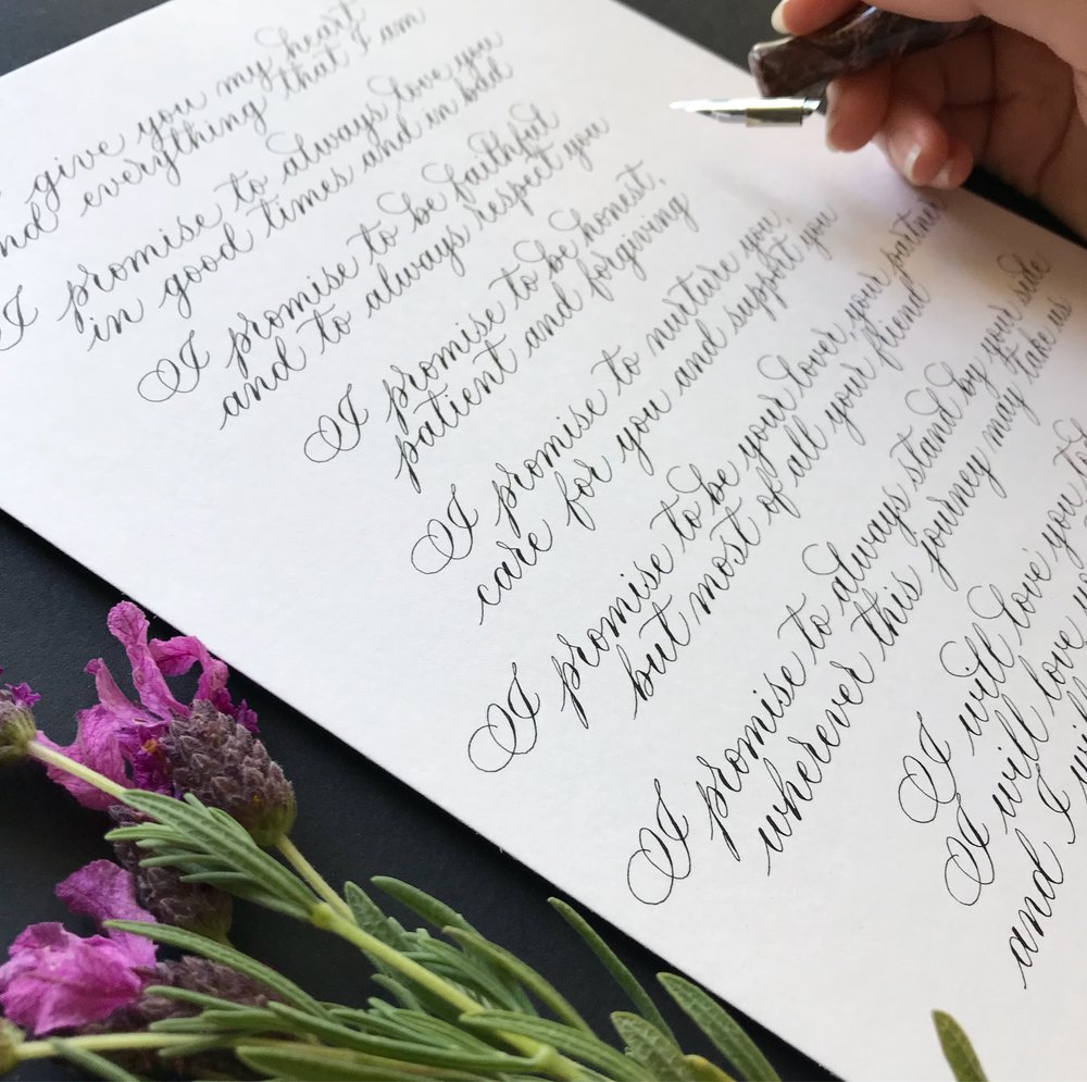 Custom calligraphy - wedding vows