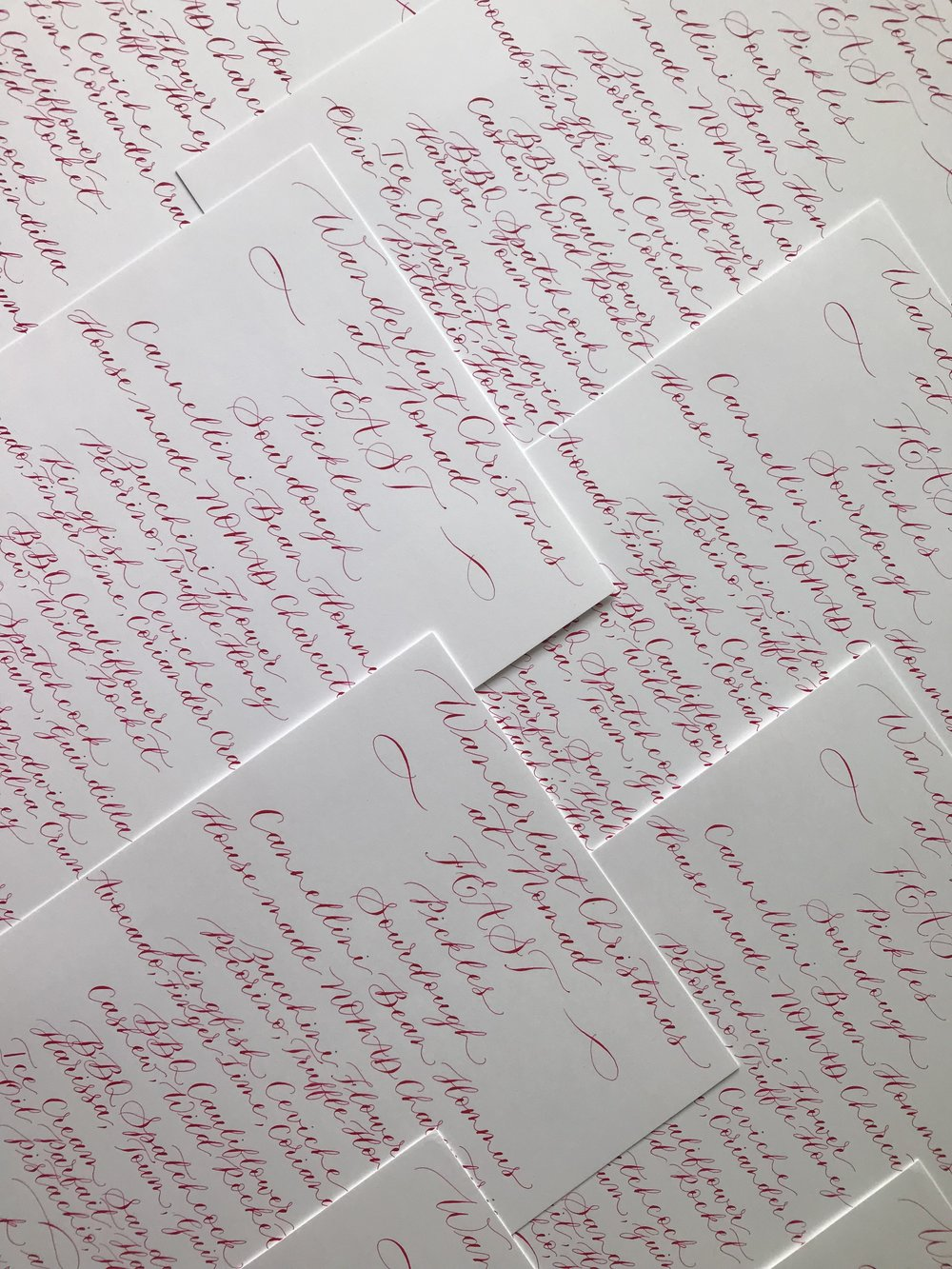 Handwritten menus
