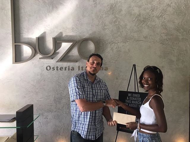 Congrats to Krystal Cobham on winning a dinner for 2 at Buzo by dining and donating with #Food4Change. Thank you! #CharityChicks #Winner #DineAndDonate #FeedingBarbadosTogether