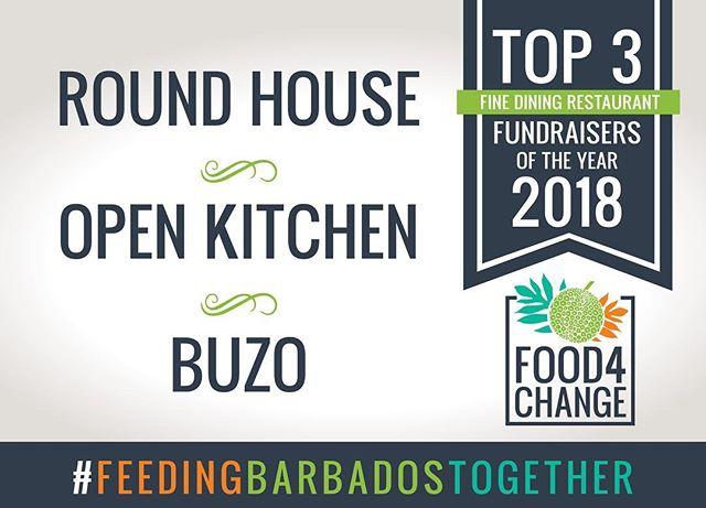 Hip hip hooray to the top three restaurants @roundhousebarbados @openkitchenbarbados @buzobarbados who together raised $3314.00! #Food4Change #FeedingBarbadosTogether #RestaurantMonth #FightingHunger #ThankYou