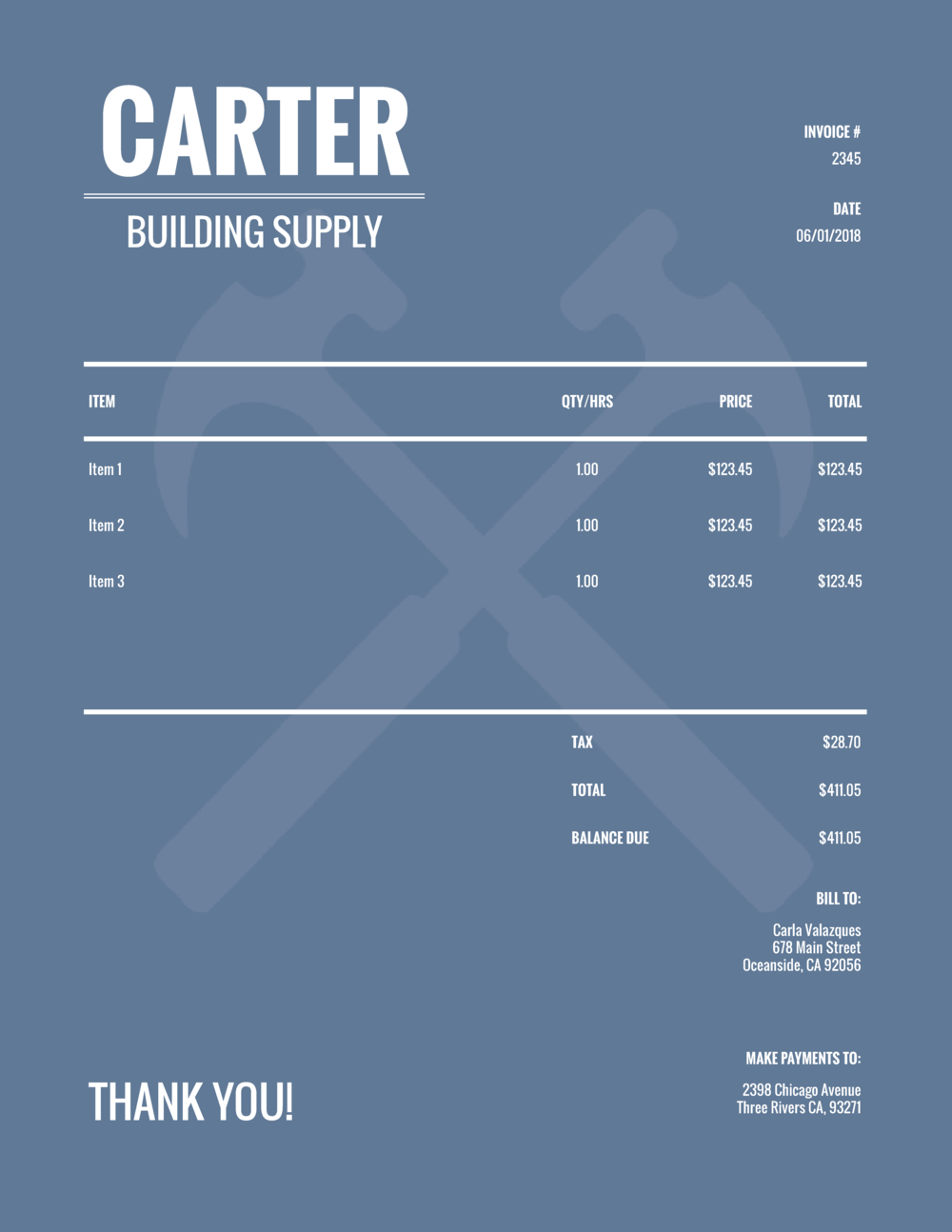 """Carter Building Supply"" Invoice Template from formfarm.io"