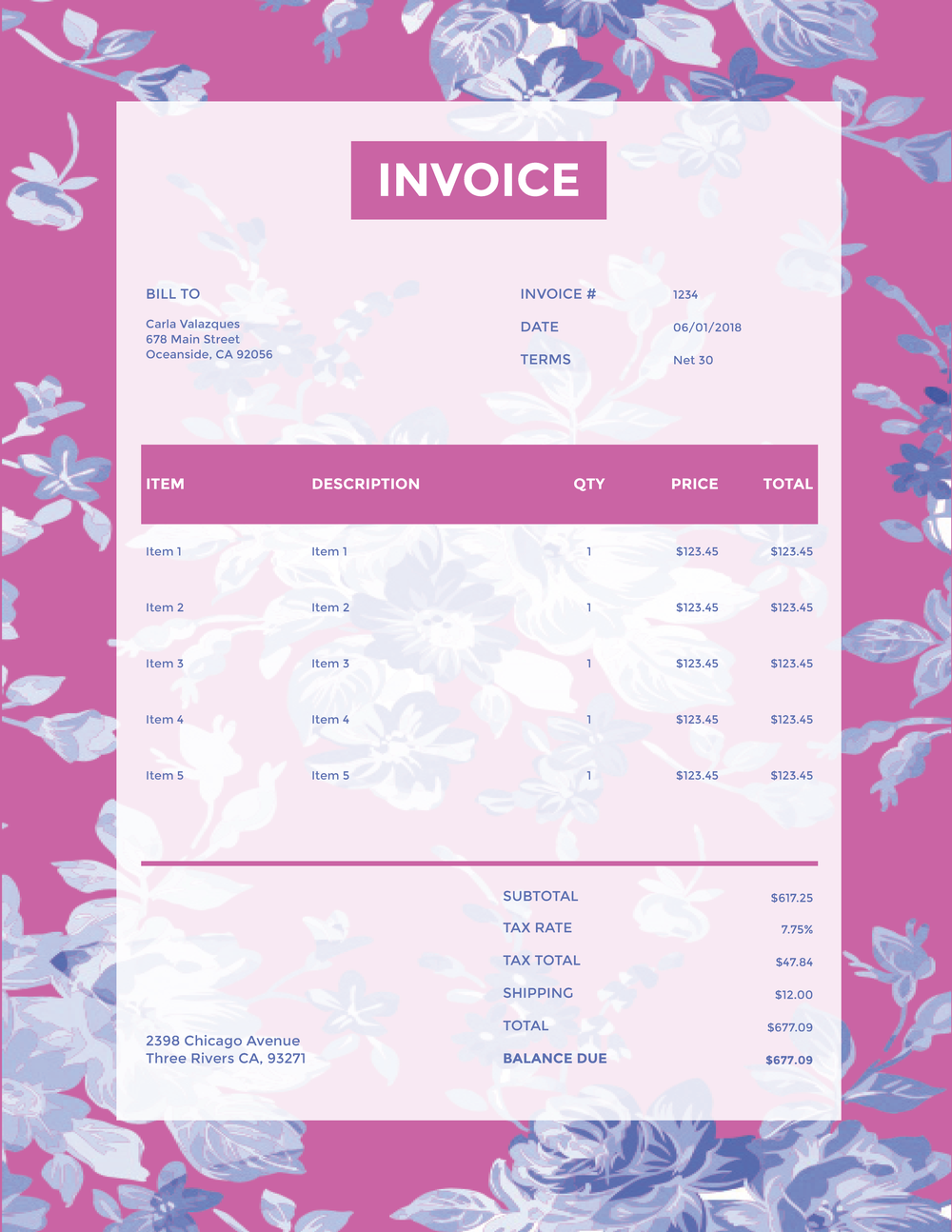 """New Floral"" Invoice Template from formfarm.io"