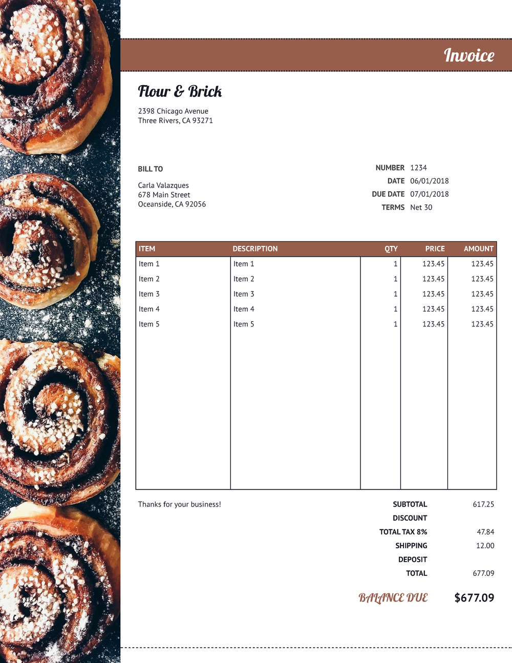 """Flour & Brick"" Invoice Template from formfarm.io"