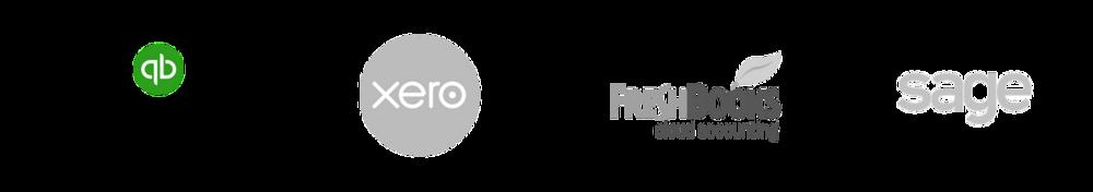 quickbooks logo, Xero logo, FreshBooks logo, and Sage logo