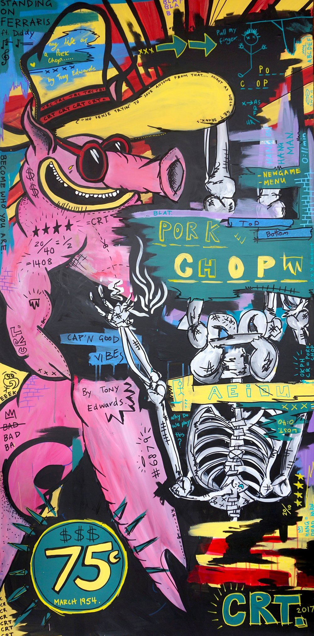 Pork Chop  92cm x 182cm Acrylic on Board 2017  Sold