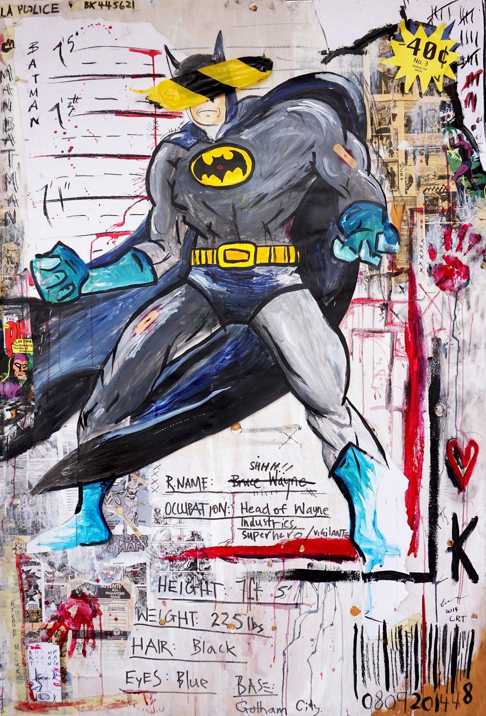 Behind the Mask - Batman  120cm x 180cm Mixed Media on Board