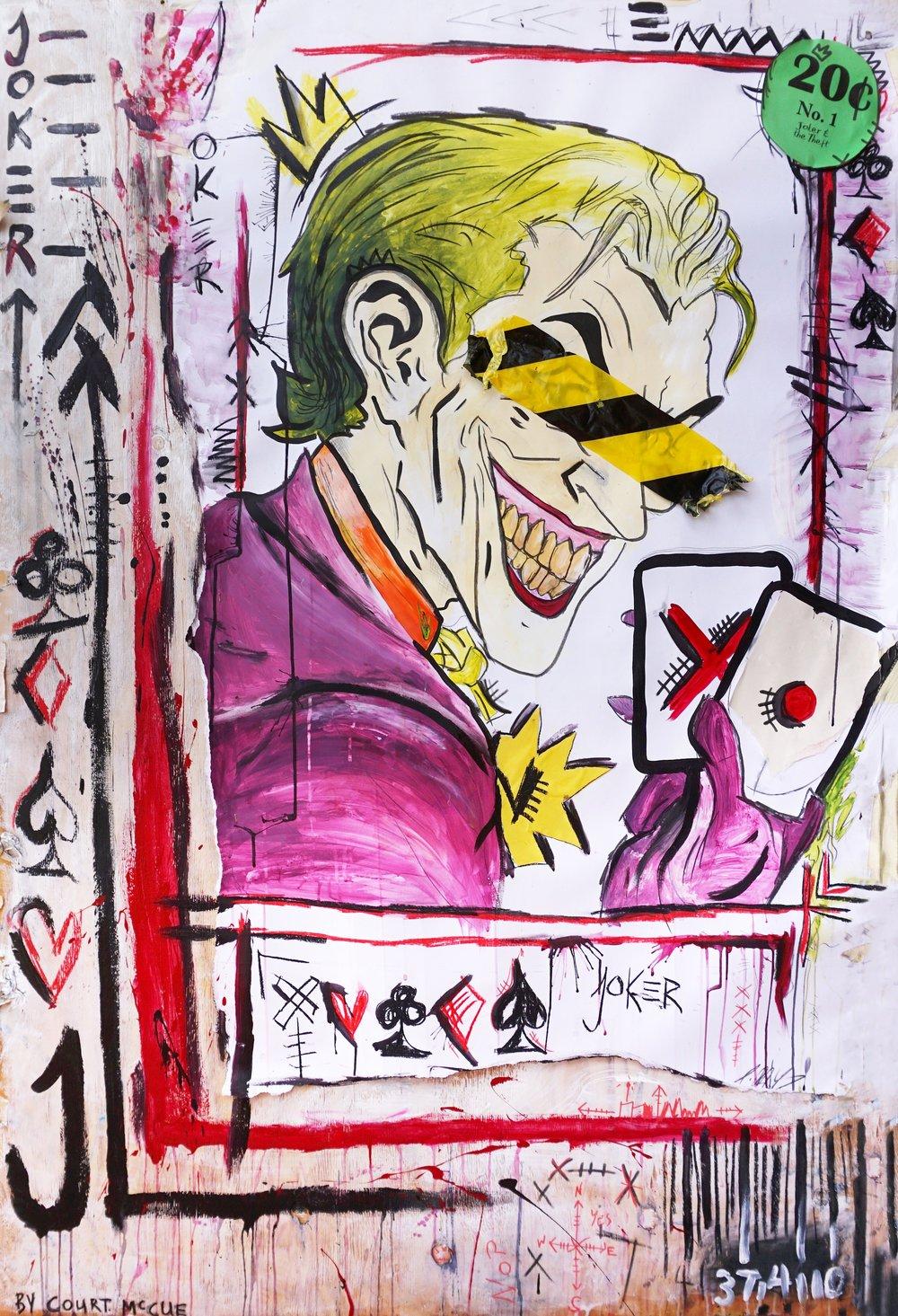 Behind the Mask - Joker  120cm x 180cm Mixed Media on Board