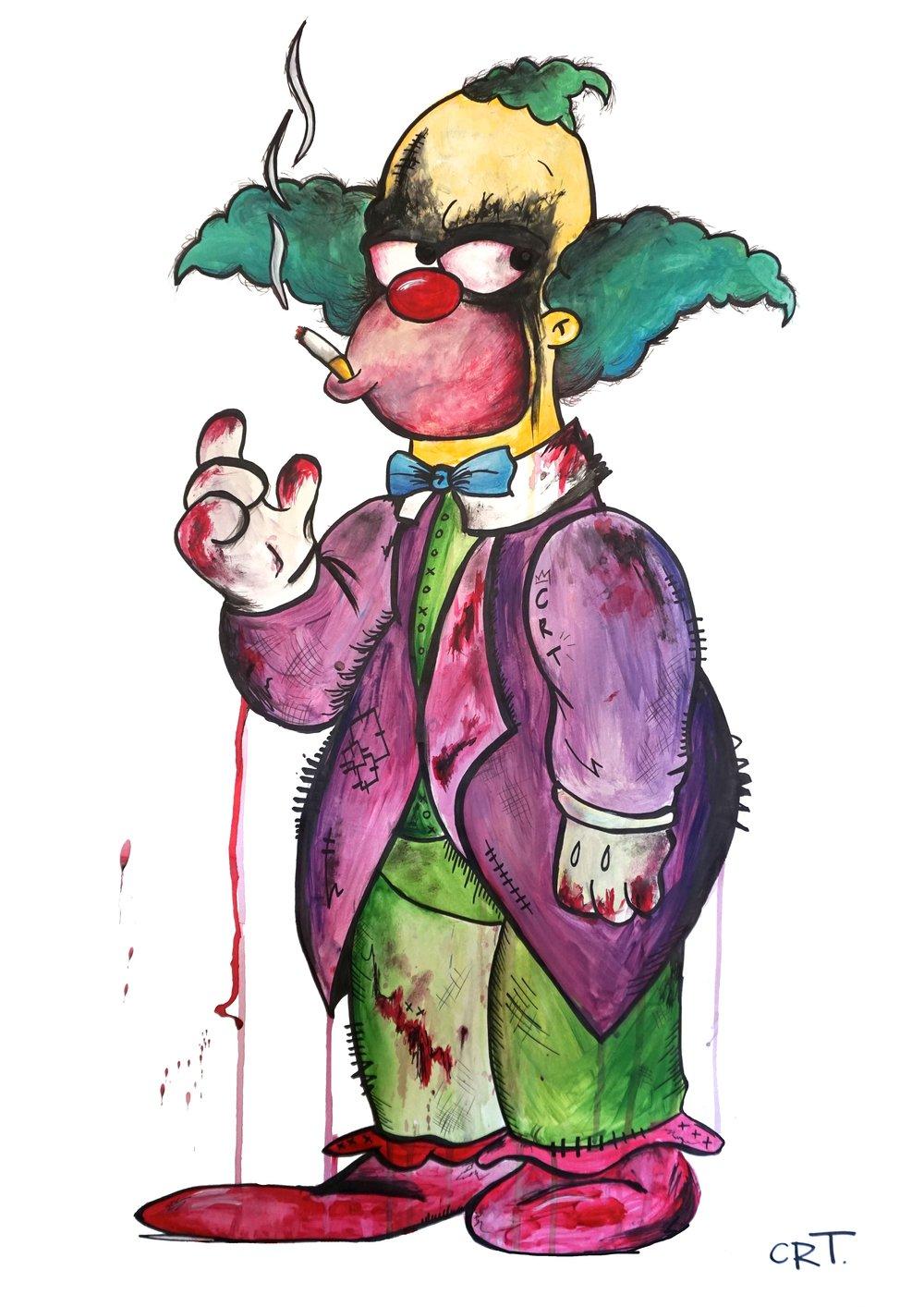 Krusty the Joker  58cm x 83cm Acrylic on Paper  Sold