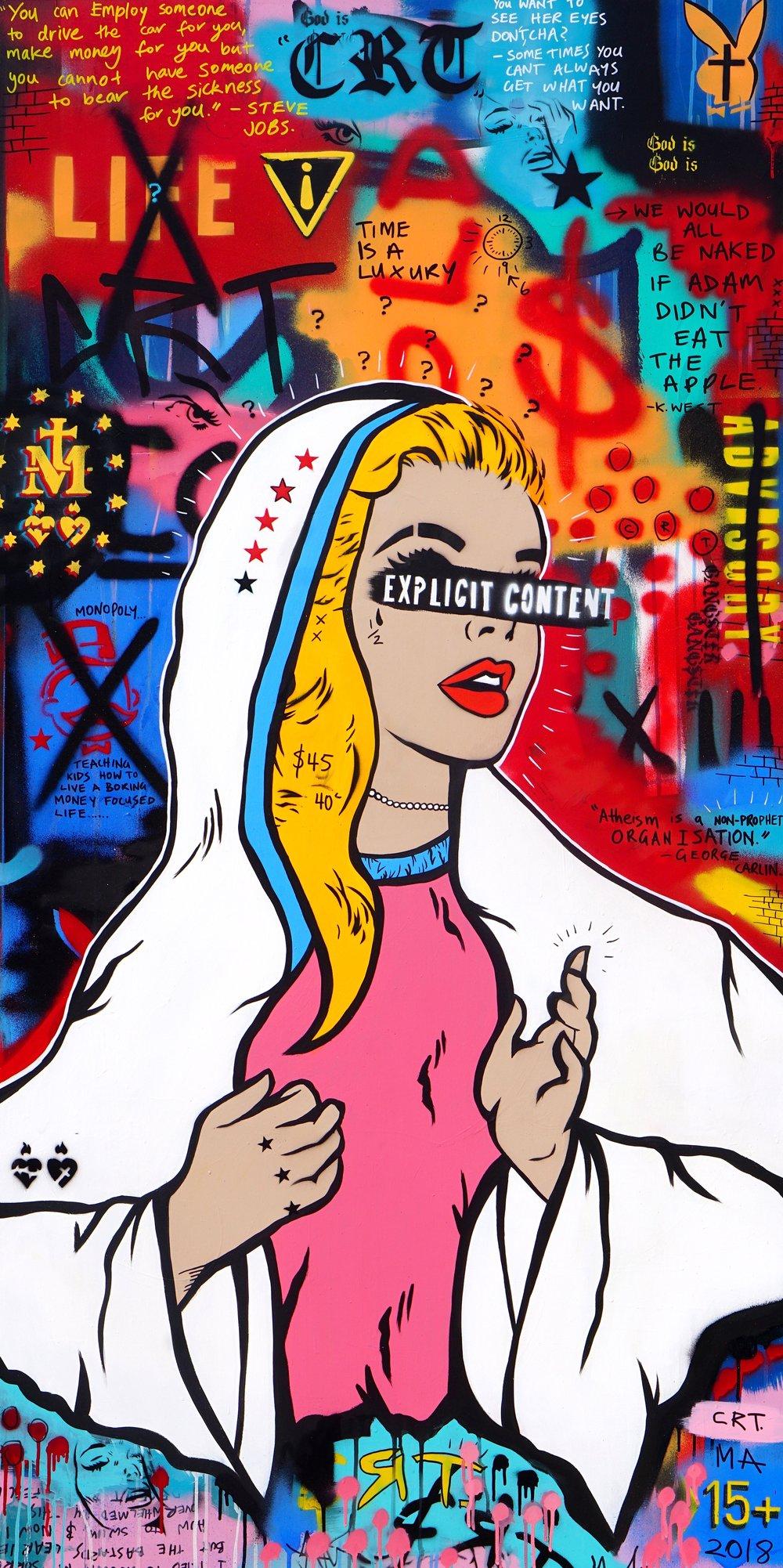 Explicit Content     'A Billionaire's Guide to Immortality'   92cm x 182cm Acrylic on Board 2018