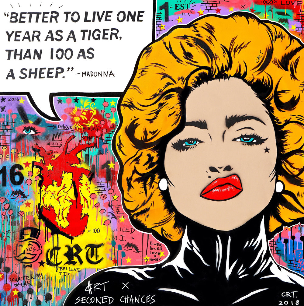 Life's Attitude   Collaboration artwork to raise money for  Second Chances  122cm x 122cm Spray Paint and Acrylic on Canvas 2018