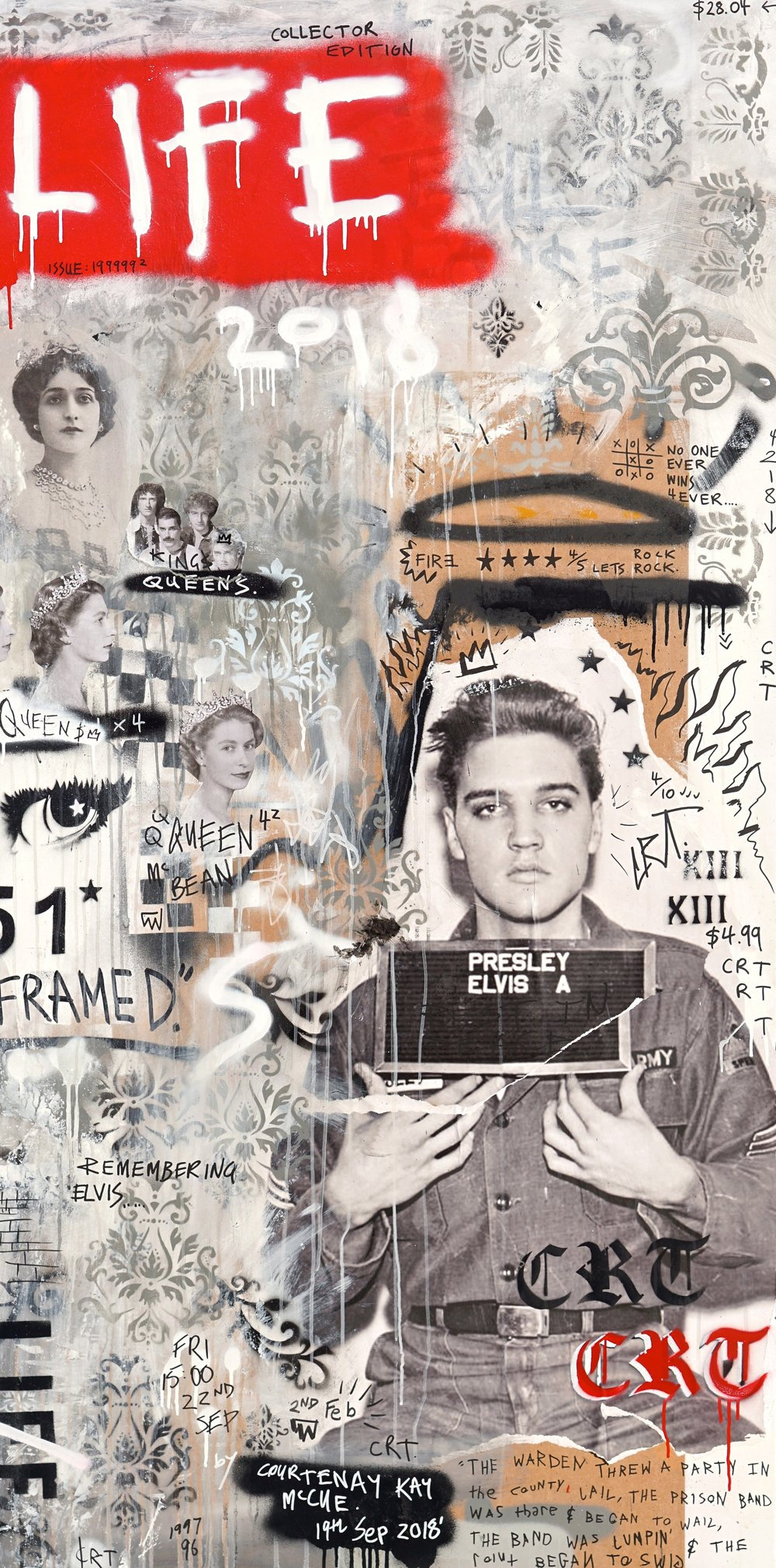 Remembering Elvis  ' Crack Rock n' Death Toll'  92cm x 182cm Spray, Acrylic and Collage on Board 2018  Sold