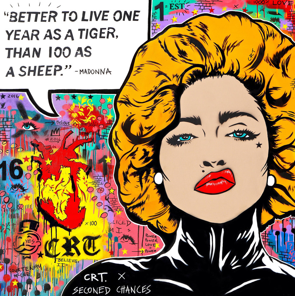 Life's Attitude  Collaboration artwork to raise money for Second Chances  122cm x 122cm Spray Paint and Acrylic on Canvas 2018  Sold