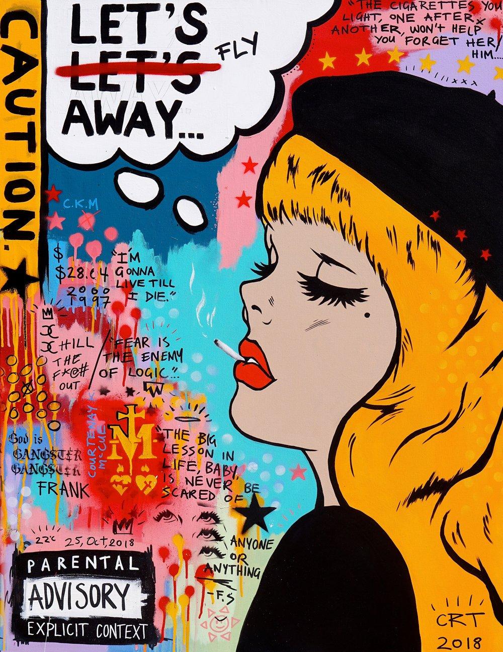 Let's Fly Away  81cm x 106cm Acrylic on Canvas Framed 2018  Sold