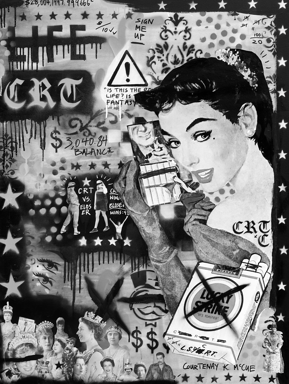 Lucky Stroke   'Crack Rock n' Death Toll'  81cm x 106cm Acrylic and Collage on Canvas 2018   Contact