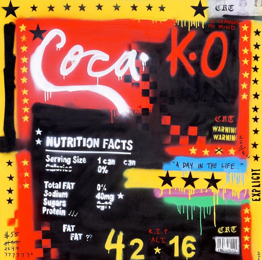 Coca.   'Crack Rock n' Death Toll'  102cm x 102cm Acrylic on Canvas 2018  Sold