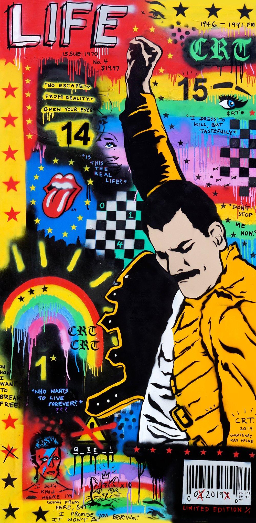 Freddie Mercury  92cm x 182cm Acrylic, Spray on Board 2019  Sold - Private Commission