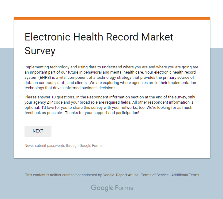 electronic health record system a survey Health system clinic 2017 user survey results electronic health ehr vendor may be analyzed by function or module and as an end-to-end electronic health record.