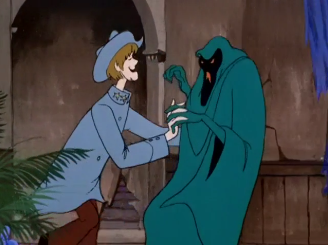 Backed into a corner, Shaggy is forced to disguise himself as a Confederate soldier and seduce an evil phantom. We're not making this up.