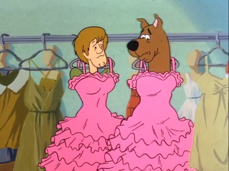 """Aw, don't feel bad, Scoob! The armless prom dress look isn't for everyone-"""