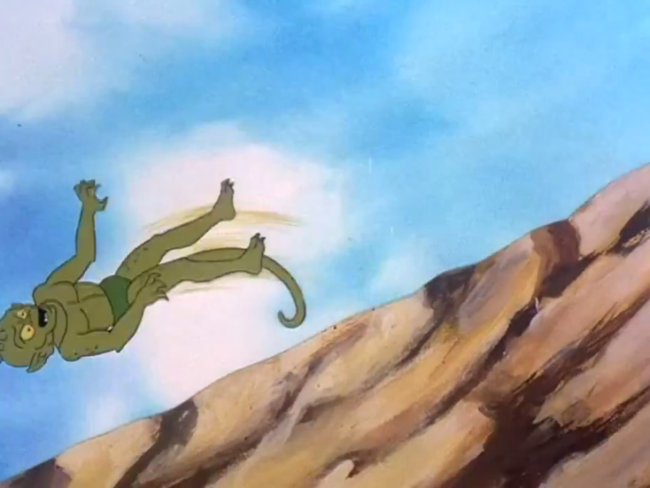 """Daphne: """"I bet you can't jump realistically, Gremlin!""""  Gremlin: """"Hold my beer-"""""""