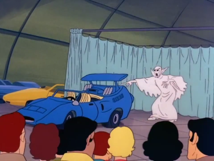 """Monster: """"I am the Spectre of Sports Cars. Behold my fuel-efficient wrath!""""  Audience: """"This is a weird stunt.""""  Monster: """"SILENCE! Or I will deliver desolation in 12 simple payments of $799.99!""""  Audience: """"OK, that's actually really good."""""""