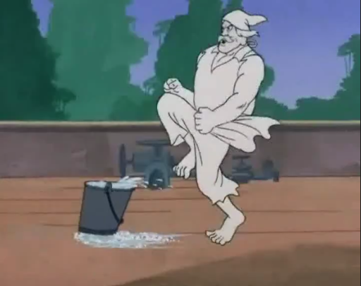 Soapy Sam slings his signature move, Soap Bucket Slide, and sprints after it. We later learn he was just an incredibly theatrical criminal pretending to be a pirate.  You can't make this stuff up.  Because they already did.