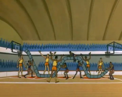 The cruelest aspect of this Globetrotters stunt is that they got the opposing team to help them set up the contraption.