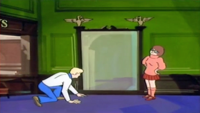 "Velma: ""There's something very  Reich -y about this mirror.""  Fred: ""Velma you know how terrible I think your Scooby impression is-"""