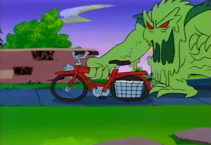 It later turned out that the monster had only stolen Shaggy's bicycle for the purposes of  wicked  2-second wheelies and  sick  pothole jumps.