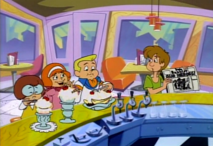 The gang enjoy a variety of snacks at the courtesy of Shaggy's willingness to be financially exploited in exchange for friendship.