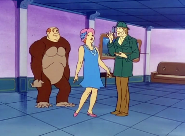 "Sherlock Holmes: ""I deduce there has been some monkeying around.""  Mrs. Blake: ""Get out."""