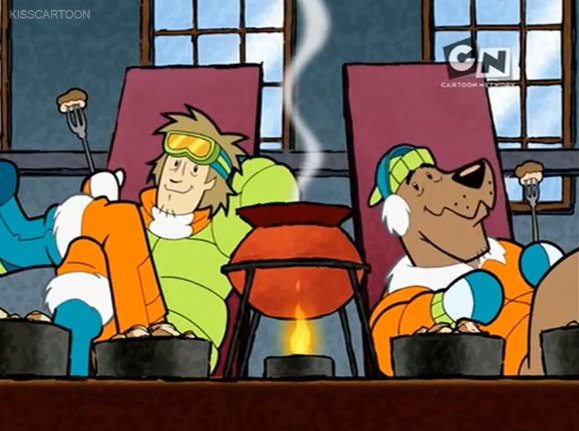 Scoob and Shagster kick back with a cauldron full of fondue. It's the first time they've had fondue in the episode. So why (you ask) is the episode titled  MORE Fondue for Scooby-Doo ?  Good question, reader/listener. For the answer, tune into all subsequent episodes of  Scooby Dudes .