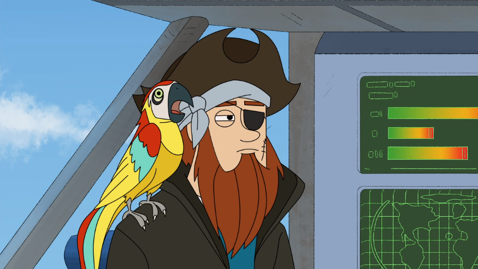 At this point in the episode, Captain McDoon has become so grizzled that he is little more than a parrot on some dude's shoulder.