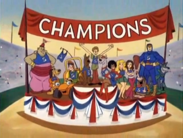 The ending of the Laff-A-Lympics doubles as the opening of a small-town-America float parade.