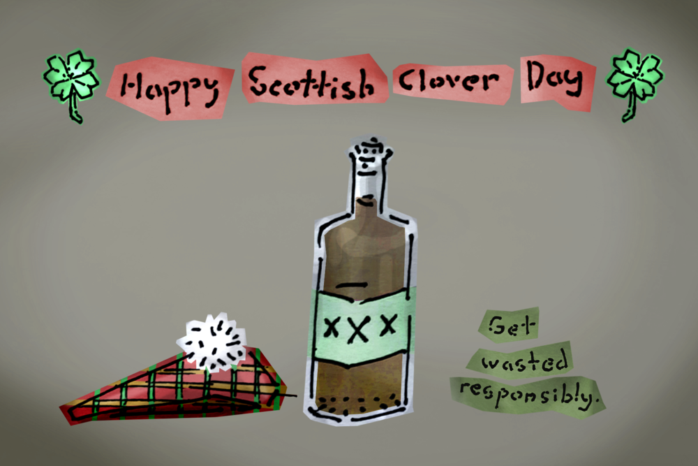 """Scooby Dudes  - Episode 40: """"A Highland Fling with a Monstrous Thing"""" - Title Card by Luke Doty  and what a title card it is, amirite? I mean just look at that. Really take a minute a just look. You know, most people, they'd color the bottle so it's all filled up right to the edges. Not Luke! He obviously knows to show the glass casing  around  the liquid. And hoo boy - that shading. The bottle is positively glinting! I mean the Scooby Dudes get great title card art, everyone knows that but this? THIS? Hats off to you, Luke, you goshdarn hero.  Never mind the weirdly shaded hat or ugly background."""