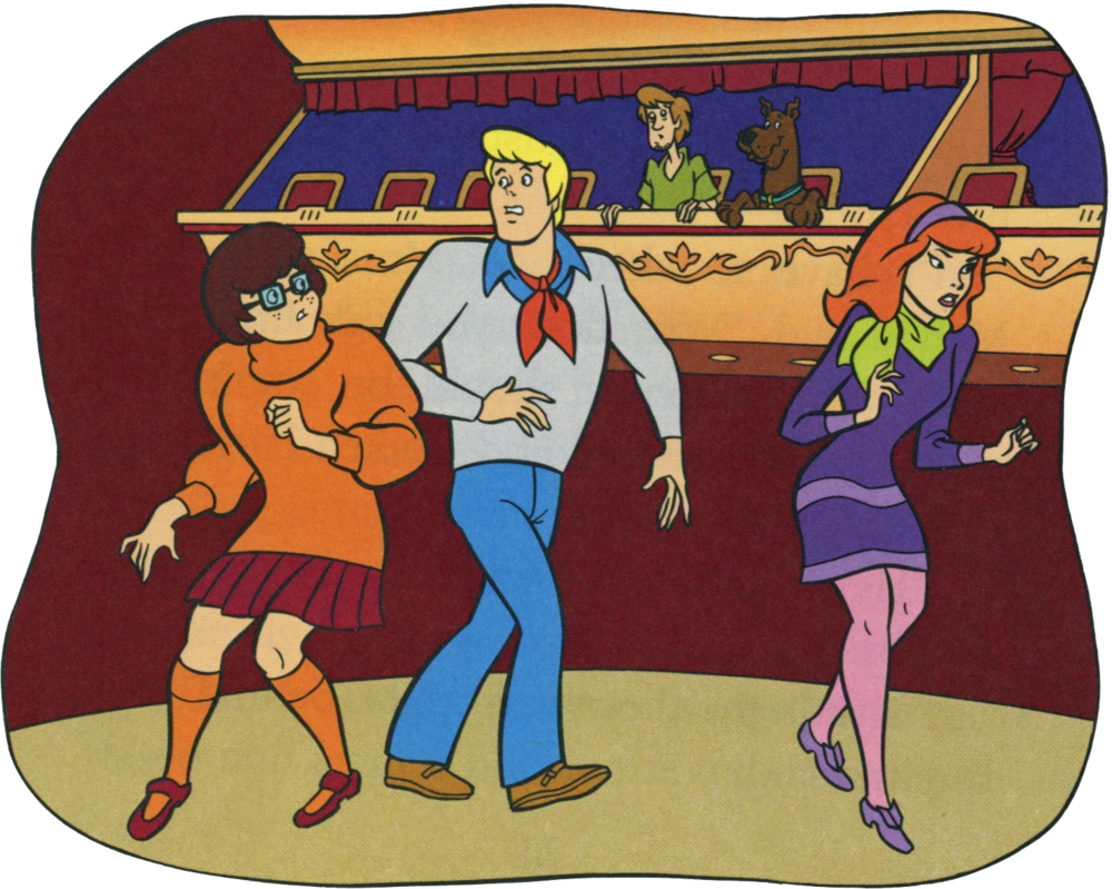 Velma, Fred, and Daphne search high and low for Shaggy's hands and Scooby's paws.