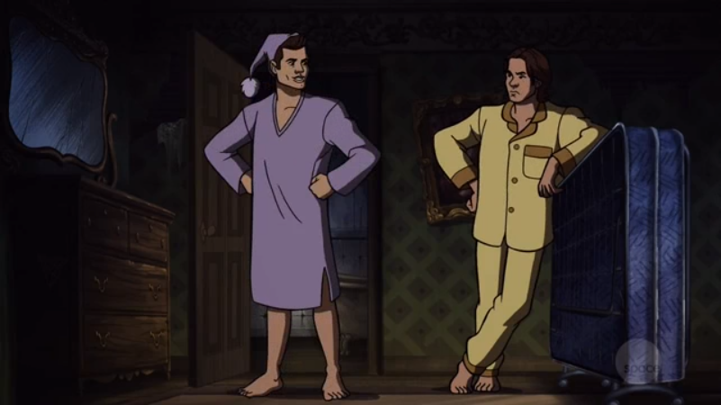 Like most people, we prefer to imagine the Winchester brothers' sleepwear as slightly less traditional and a little more nonexistent.