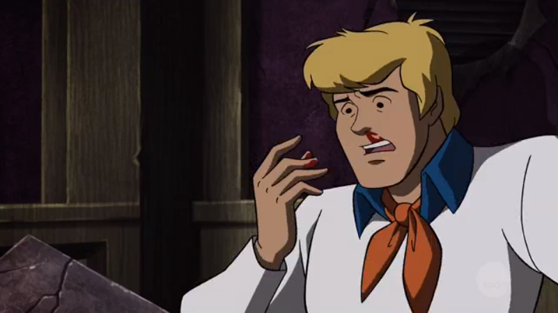Having just witnessed Daphne's fan service moment, Fred learns about a lesser-known anime trope.