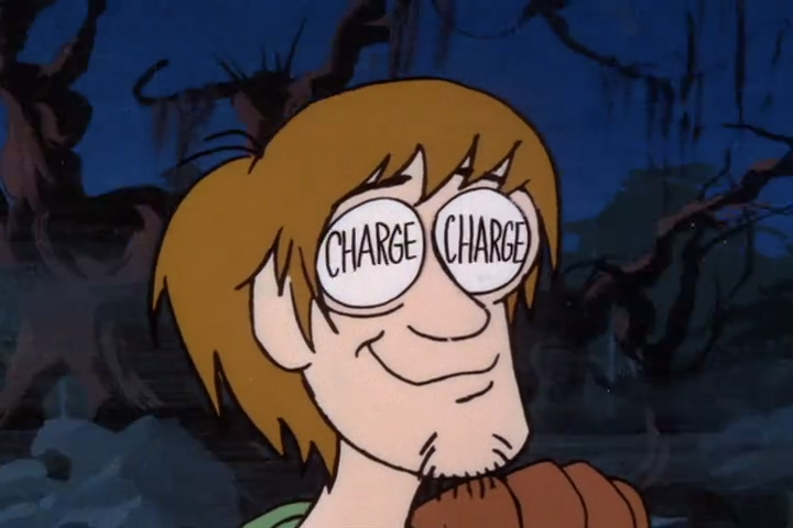 "The difficult thing about this scene was obviously fitting the entire word ""charge"" into each of Shaggy's eyes. The animators had to make the text large enough to be legible, but that meant making Shaggy's eyes far wider than was normal. This would have been allowable in 1969, but Hanna-Barbera's new House Animation Standards had gone into effect in 1970, when this episode aired. These new standards codified eye-size gaffes as a fireable offense, and resulted in the dismissal of all of this episode's animators.  It is interesting to reflect that, had the animators been fired just one year earlier, they would have no doubt received generous severance pay. With the new rules, the sacked animators received nothing. It was a shrewd (though callous) tactic which Hanna-Barbera adopted from the American Revolutionary War, summarized thusly:   Don't fire until you see the ""wides"" of the seventies eyes."