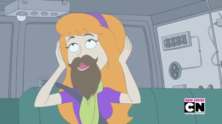 Before you ask, it's fake. Daphne's scalp hair never grew nearly so well as her genuine face hair.