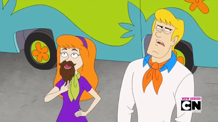 Contrary to appearances, in this scene Fred reproaches an off-screen sexist for deploring Daphne's female facial hair.