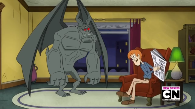 """Shaggy cruelly withholds the Help Wanted section from a job-hunting Gargoyle.   """"Zoinks! Sure are a lot of empty ledges to fill. Good pay, too! It's a shame you need to be able to afford a newspaper to find out about these things."""""""