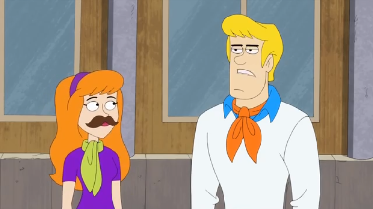 """Although Daphne swore up and down that her statement was innocent, Fred did not hear """"You want a moustache,   right  ?"""""""