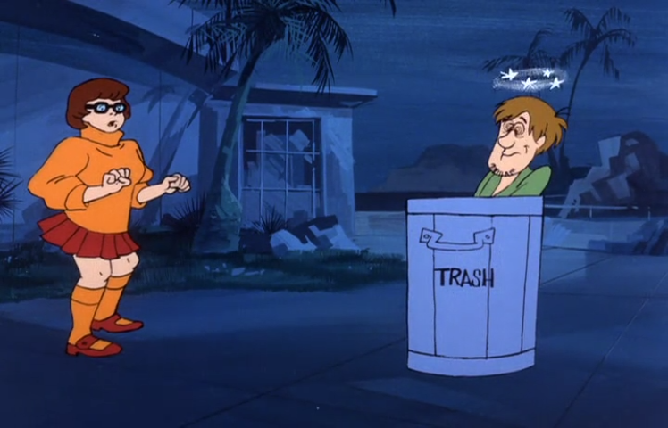 Velma is aghast to find her old friend Shaggy in such a sorry state. How did things get this bad? She would come to learn that Shaggy wasn't able to keep up with the mortgage payments on his luxury dumpster.