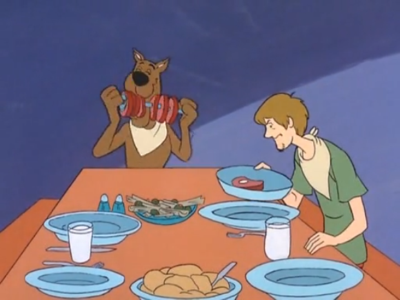 "Noted vegetarian Norville ""Shaggy"" Rogers takes a moment to compose his latest tirade on why meat is murder."