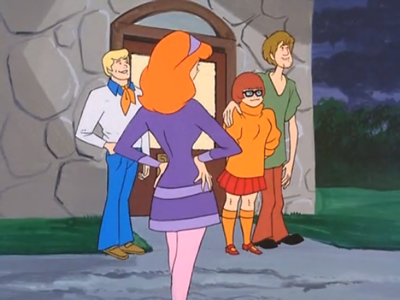YO BRO YOU SEEING THIS? SHAGGY AND VELMA ARE LOW-KEY RUBBING UP ON EACH OTHER! THAT'S FRIGGING AFFECTIONATE, BRO. DANG THEY'RE REALLY SUPPORTING ONE ANOTHER. NOTHING NECESSARILY ROMANTIC ABOUT THAT, THOUGH NO SHAME IF THOSE FEELINGS DO ARISE BECAUSE THESE ARE SOME EMOTIONALLY SENSITIVE CONSENTING ADULTS, YO.