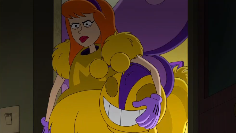 Daphne looks like she's gearing up to deal out a serious (m) ass (cot) -kicking !  Also, how did this episode not have a mascot/ascot joke for Fred?   Was it because it's very hard to think of a mascot/ascot joke?  That's fair.